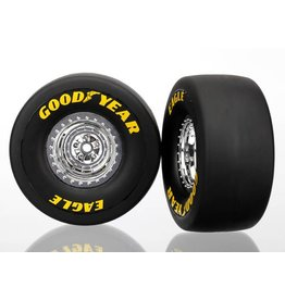 TRAXXAS TRA6973 TIRES & WHEELS, ASSEMBLED, GLUED (CHROME WHEELS, SLICK TIRES (S1 COMPOUND), FOAM INSERTS) (REAR) (2)