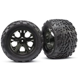 TRAXXAS TRA3669A TIRES & WHEELS, ASSEMBLED, GLUED (2.8') (ALL-STAR BLACK CHROME WHEELS, TALON TIRES, FOAM INSERTS) (NITRO REAR/ ELECTRIC FRONT) (2) (TSM RATED)