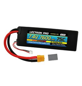 LECTRON PRO LECTRON PRO 2S LIPO 7.4V 7600MAH 75C BATTERY: XT60 WITH TRAXXAS