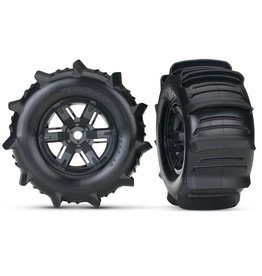 TRAXXAS TRA7773 TIRES & WHEELS, ASSEMBLED, GLUED (X-MAXX BLACK WHEELS, PADDLE TIRES, FOAM INSERTS) (LEFT & RIGHT) (2)