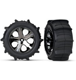 TRAXXAS TRA3776 TIRES & WHEELS, ASSEMBLED, GLUED (2.8') (ALL-STAR BLACK CHROME WHEELS, PADDLE TIRES, FOAM INSERTS) (REAR) (2) (TSM RATED)