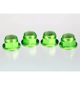 TRAXXAS TRA1747G NUTS, ALUMINUM, FLANGED, SERRATED (4MM) (GREEN-ANODIZED) (4)