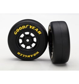 TRAXXAS TRA7378 TIRES AND WHEELS, ASSEMBLED, GLUED (8-SPOKE WHEELS, BLACK, 1.9 GOODYEAR WRANGLER TIRES) (2)