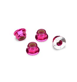 TRAXXAS TRA1747P NUTS, ALUMINUM, FLANGED, SERRATED (4MM) (PINK-ANODIZED) (4)