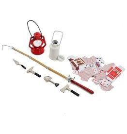 YEAH RACING YA0364 SCALE CAMPING SET W/ LAMP, FISHING ROD, POKER CARDS & TOOLS