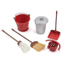 YEAH RACING YA0366 SCALE GARAGE SET WITH BROOM, DUSTPAN, MOP, BUCKET & GARAGE CAN