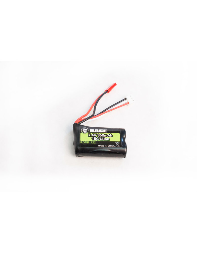 RAGE RGRB1122 7.4V, 360MAH LI-ION BATTERY: BLACK MARLIN