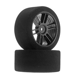 BSR RACING BXRF3038B REAR 30MM NITRO TOURING FOAM TIRE: BLACK SPOKE WHEEL (2)