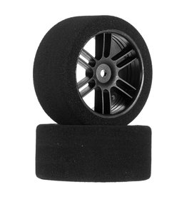 BSR RACING BXRF3035B REAR 30MM NITRO TOURING FOAM TIRE: BLACK SPOKE WHEEL (2)