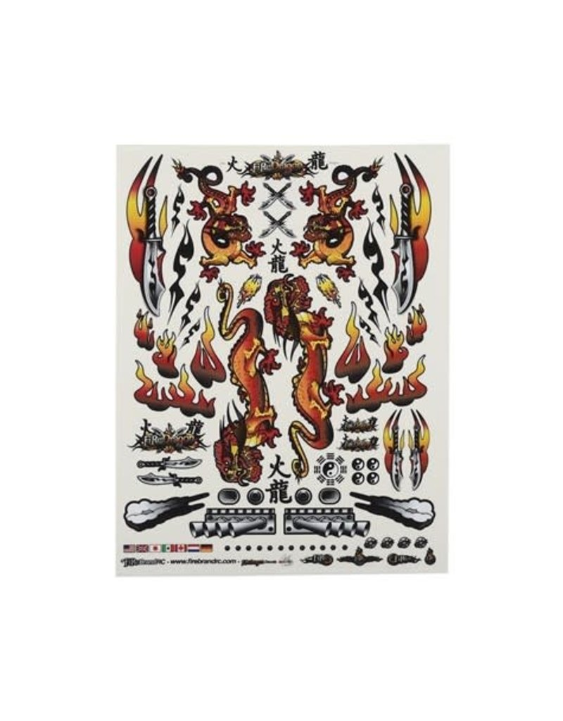 "FIRE BRAND RC FBR1DECDOR177 FIREBRAND RC CONCEPT DRAGON DECAL (ORANGE) (8.5x11"")"