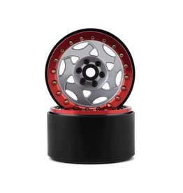 "SSD RC SSD00345 2.2"" CHAMPION BEADLOCK WHEELS SILVER/RED"