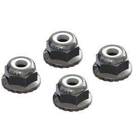 ARRMA AR708008 FLANGED NYLOC LOCKNUT 4MM SILVER (4)