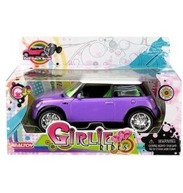 DARON WORLDWIDE REALTOY GIRLIE RIDES MINI COOPER ASSORTED COLORS: PINK/ PURPLE