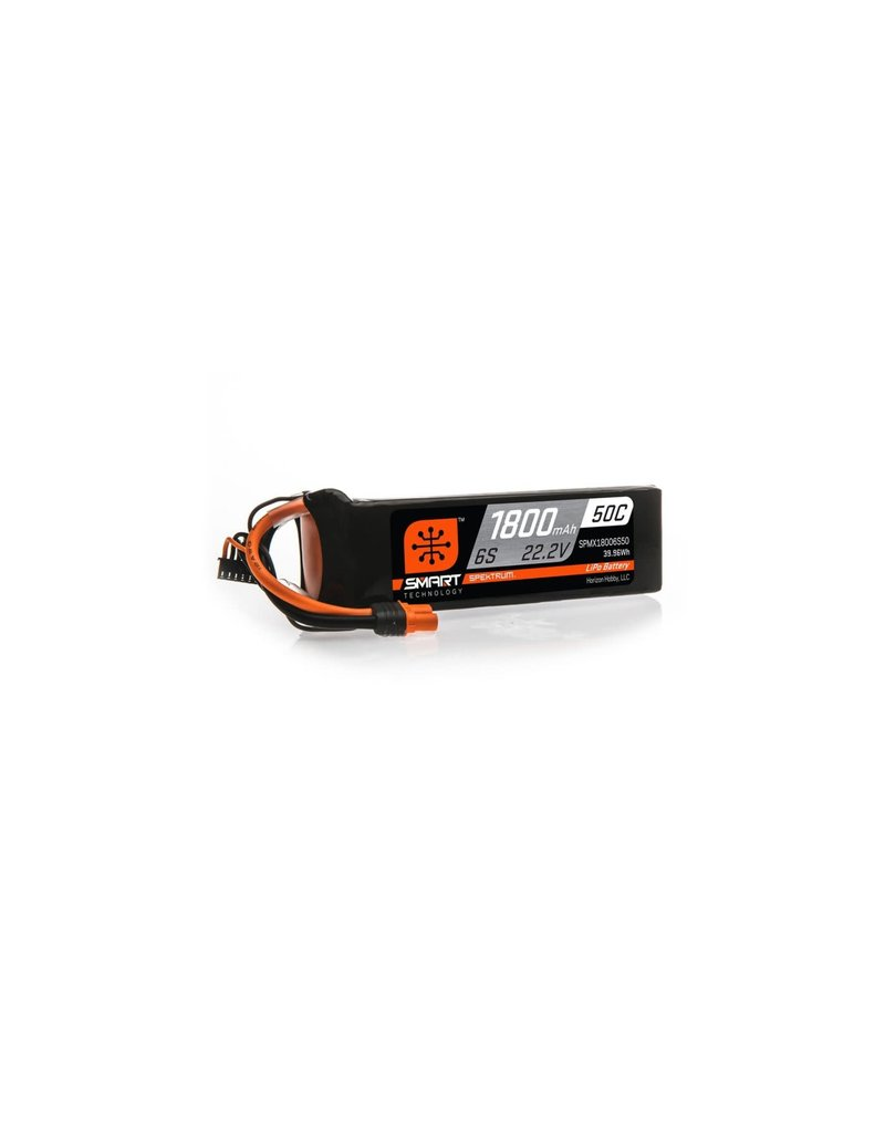 SPEKTRUM SPMX18006S50 1800MAH 6S 22.2V SMART 50C LIPO IC3