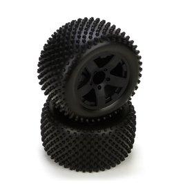 ECX ECX43006 PREMOUNT BLACK WHEEL REAR TIRE (2): 1/10 2WD CIRCUIT