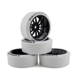 FIRE BRAND RC FBR1WHECHR602 CHAR XDR9 5' PRE-MOUNTED SLICK DRIFT TIRES (4) (BLACK/WHITE)