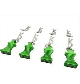 HOT RACING HRAAC03EZ05 1/10 ALUMINUM EZ PULL BODY PINS (4): GREEN