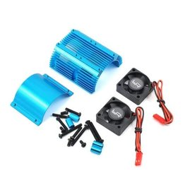 YEAH RACING YEA-YA-0261BU 1/8 HEAT SINK WITH TWIN TORNADO HIGH SPEED FAN SET: BLUE