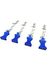 HOT RACING HRAAC03EZ06 1/10 BLUE ALUMINUM EZ PULLS (4PCS) AND BODY CLIPS (8PCS)