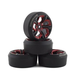 FIRE BRAND RC FBR1WHEHYD503 FIREBRAND RC HYDRA XDR3 5 PRE-MOUNTED SLICK DRIFT TIRES (4) (RED/BLACK)