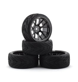 FIRE BRAND RC FBR1WHEHYP527 HYPERNOVA RT9 PRE-MOUNTED ON-ROAD TIRES (4) (GUN METAL)