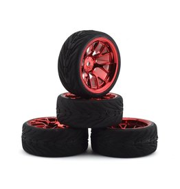 FIRE BRAND RC FBR1WHEHYP886 HYPERNOVA RT39 PRE-MOUNTED ON-ROAD TIRES (4) (RED CHROME)