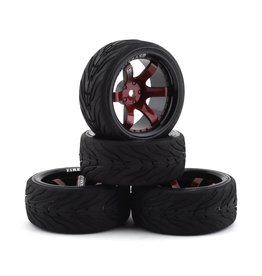 FIRE BRAND RC FBR1WHEBLO688 BLOODSHOT RT9 PRE-MOUNTED ON-ROAD TIRES (4) (RED/BLACK)