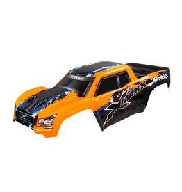 TRAXXAS TRA7811 BODY, X-MAXX , ORANGE (PAINTED, DECALS APPLIED) (ASSEMBLED WITH FRONT & REAR BODY MOUNTS, REAR BODY SUPPORT, AND TAILGATE PROTECTOR)
