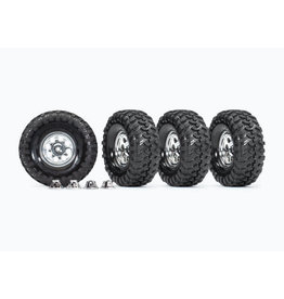 TRAXXAS TRA8183X TIRES AND WHEELS, ASSEMBLED, GLUED (1.9' CLASSIC CHROME WHEELS, CANYON TRAIL 4.6X1.9' TIRES) (4)/ CENTER CAPS (4) (REQUIRES #8255A EXTENDED STUB AXLE)