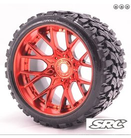 SWEEP RACING SRC1002R TERRAIN CRUSHER BELTED TIRE (2): RED