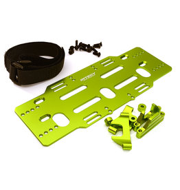 INTEGY INTC28820 GREEN ADJUSTABLE BATTERY MOUNTING PLATE W/ STRAPS FOR ARRMA KRATON/SENTON(6S BLX ONLY): GREEN
