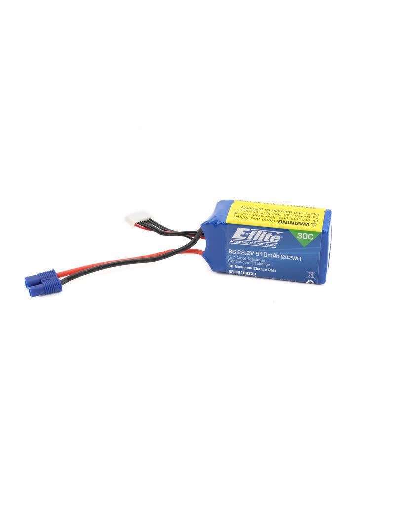 E-FLITE EFLB9106S30 22.2V 910MAH 6S 30C LIPO W/EC3