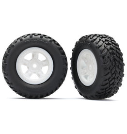 TRAXXAS TRA7674X TIRES AND WHEELS, ASSEMBLED, GLUED (SCT WHITE WHEELS, SCT OFF-ROAD RACING TIRES) (1 EACH, RIGHT & LEFT)