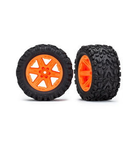 TRAXXAS TRA6773A TIRES & WHEELS, ASSEMBLED, GLUED (2.8') (RXT ORANGE WHEELS, TALON EXTREME TIRES, FOAM INSERTS) (4WD ELECTRIC FRONT/REAR, 2WD ELECTRIC FRONT ONLY) (2) (TSM RATED)