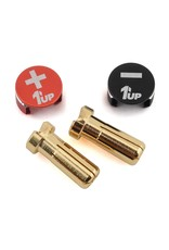 1UP Racing 1UP190432 1UP RACING LOWPRO BULLET PLUG GRIPS W/5MM BULLETS (BLACK/RED)