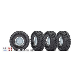 TRAXXAS TRA8166X Tires and wheels, assembled, glued (1.9' chrome wheels, Canyon Trail 4.6x1.9' tires) (4)/ center caps (4)/ decal sheet (requires #8255A extended stub axle)
