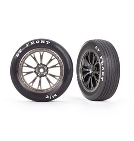 TRAXXAS TRA9474A TIRES AND WHEELS WELD SATIN BLACK FRONT