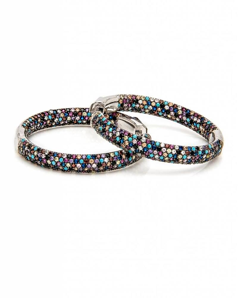 Nickho Rey Tire White Rhodium Earrings