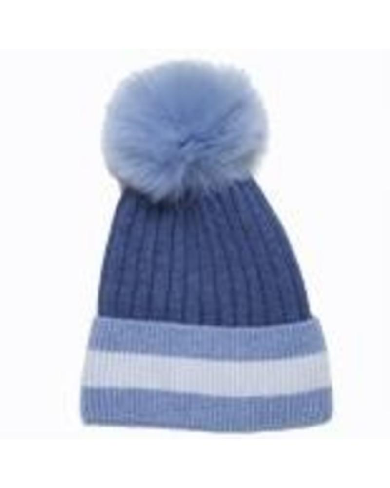 Glamourpuss NYC Hat with Three Colors Multi Stripe Cuff and Pom GP810