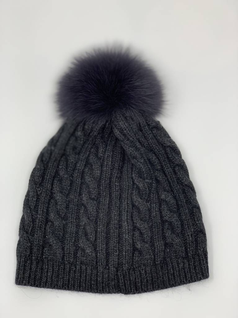 Cable Knit Hat with Pom Pom 570CK - I Am More Scarsdale e0ffb228773