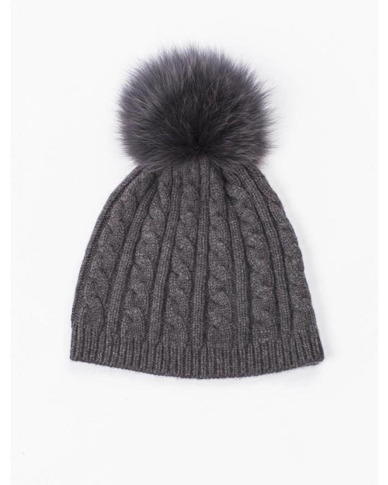 Glamourpuss NYC Cable Knit Hat with Pom Pom 570CK