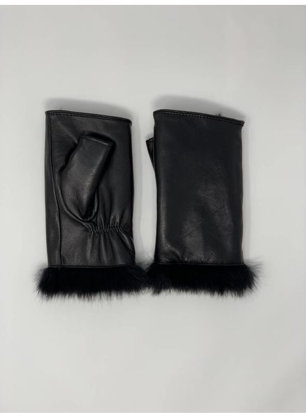 Glamourpuss NYC Lamb Leather Fingerless Mitten with Rabbit Liner GP854
