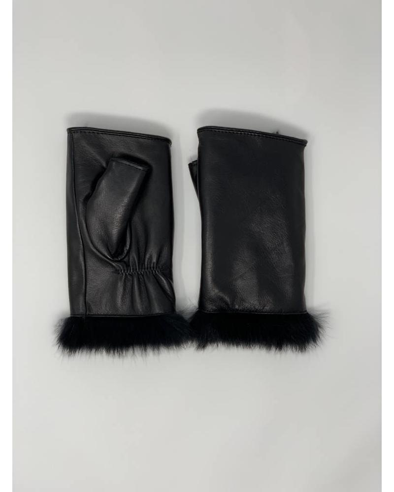 Glamourpuss NYC Lamb Leather Fingerless Mitten with Rabbit Liner GP854