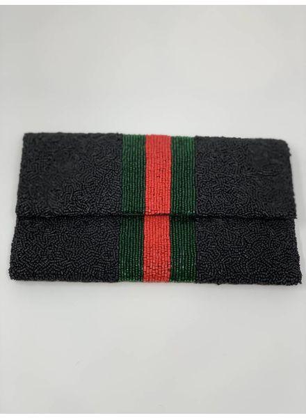 moyna Clutch Flap Awning Stripe Mono Black F18