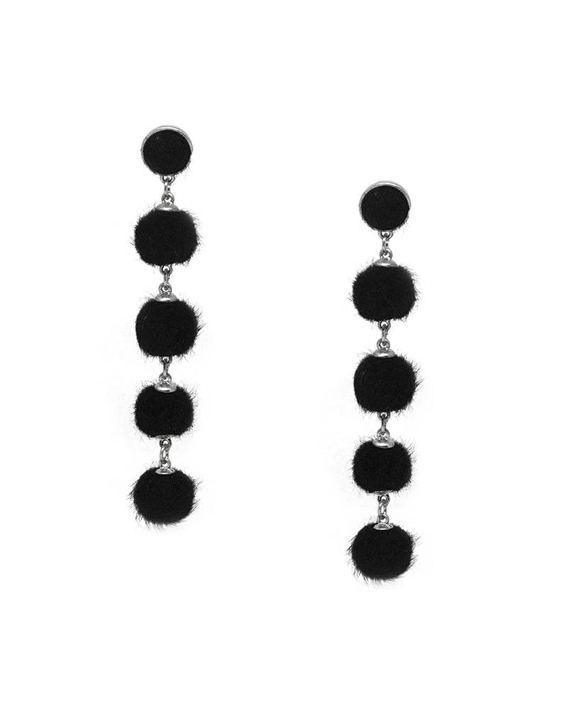 Marlyn Schiff Mink Ball Post Earrings