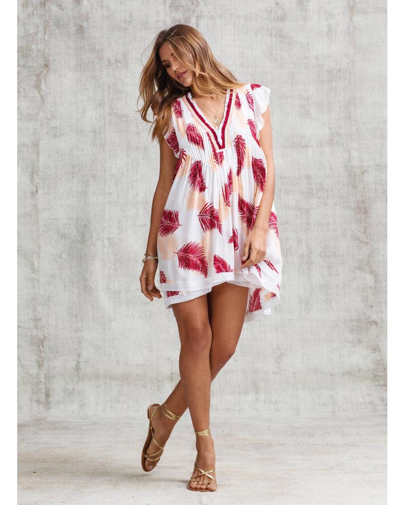 POUPETTE ST BARTH Mini Dress Sasha Lace Trimmed V Ck Pr S19
