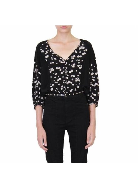 Jason Wu Spring Daisy Print V-Neck Long Sleeve Blouse S19