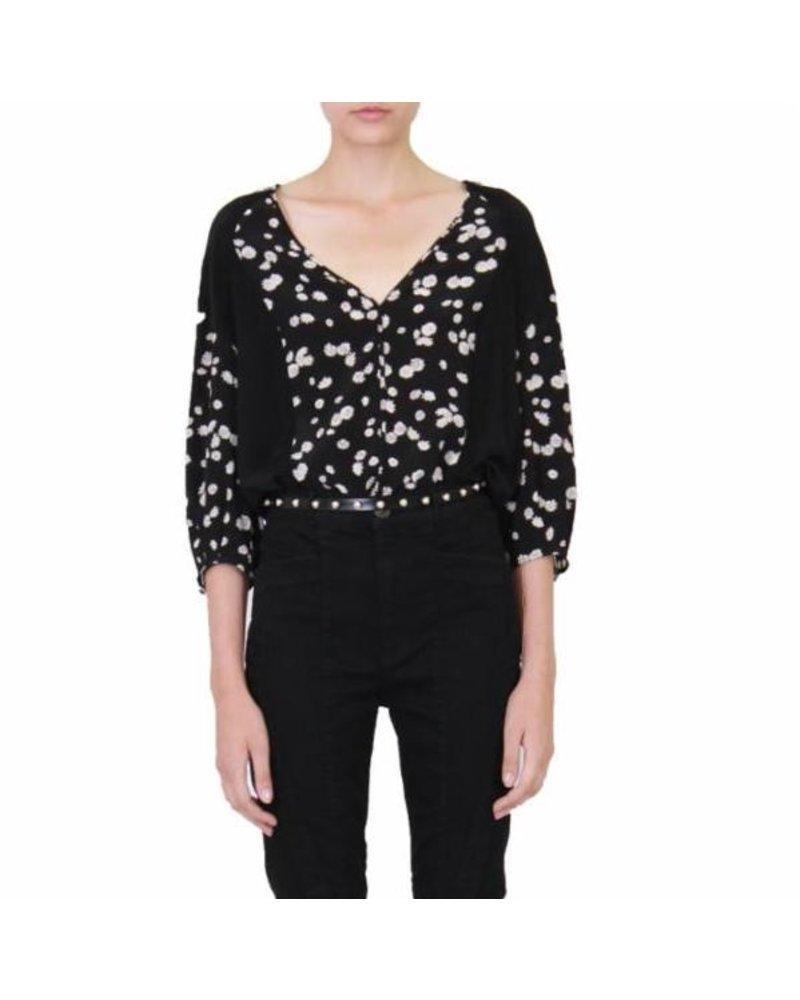 Jason Wu Spring Daisy Print V-Neck Long Sleeve Blouse S19