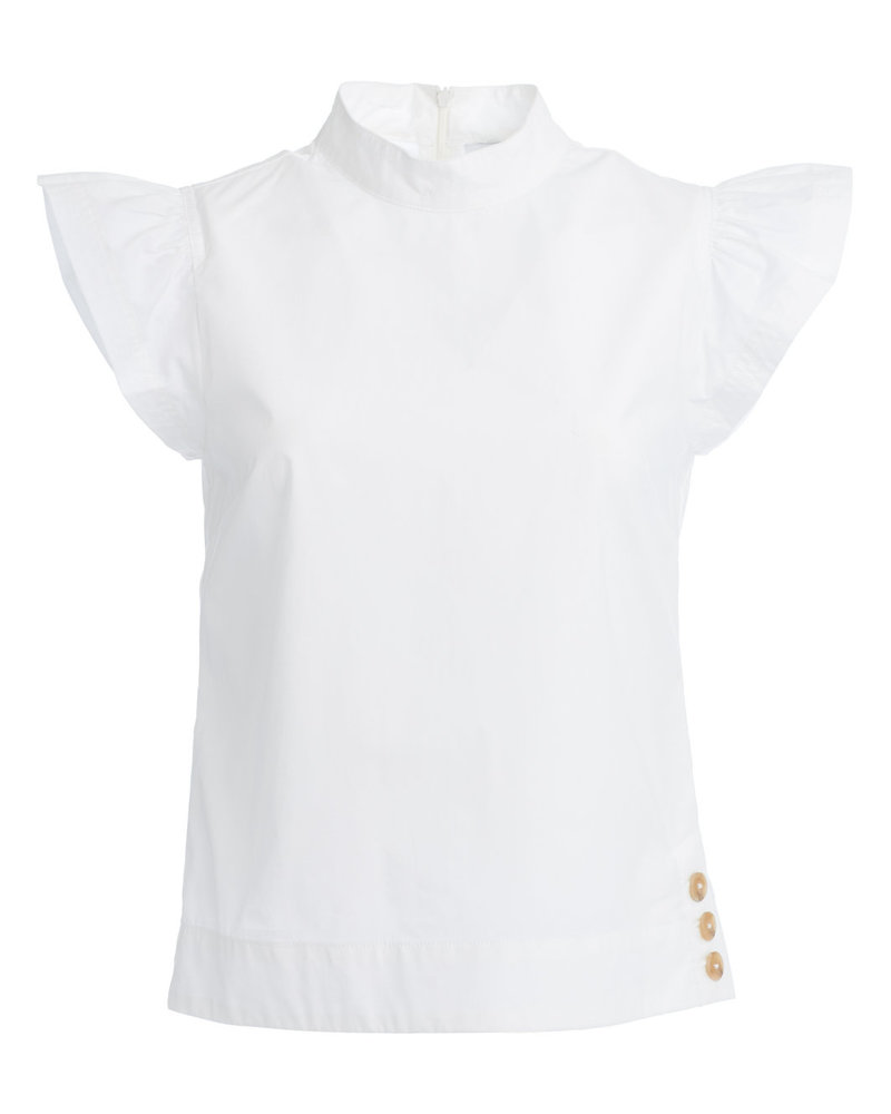 ei8htdreams Liberty Frill Poplin Top White  S19