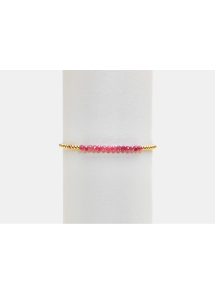 Karen Lazar 2mm Yellow Gold Bracelet with Pink Moonstone